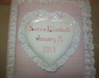 HEART Custom Personalized Photo Album / Scrapbook - Baby Girl - Eyelet