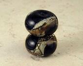 Black and Gold Handmade Glass Lampwork Bead Pair Silvered Ivory Swirls Small 11x7mm