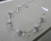 Necklace sterling silver and quartz teardrop - one of a kind