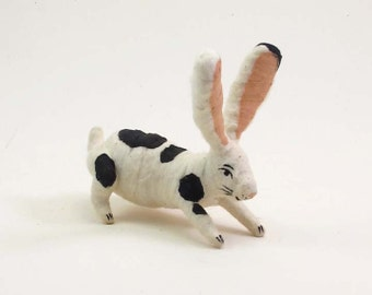 Spun Cotton Vintage Inspired Spotted Bunny Rabbit Figure/Ornament