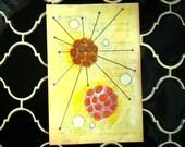 Yellow Radiolaria - Original Painting on Antique Book Paper