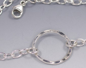 Circle Bracelet Sterling Silver, Eternity Circle Bracelet