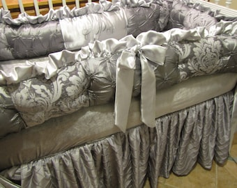 Custom  Crib Set  Silvers and Grey Luxury  Style Bedding