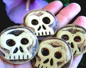 Day of the Dead Inspired Round Ceramic Skull Buttons- 4 Buttons w/ Brown Accents