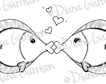 Kissy Fish Digi Digital Stamp