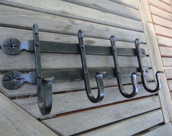 Hand forged Iron 4 Hook Coat Rack