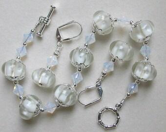 Lampwork White Bracelet and Earring Set in Silver
