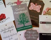 100 Custom Printed Hang Tags - Professionally offset printed - Super Thick 15pt Glossy or Matte Cards