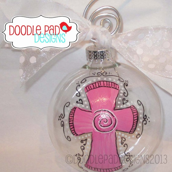 Baptism Ornament Personalized Christmas Ornament Christening: Personalized Baptism Ornament Cross In Pink By