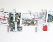 Portland Oregon Postcards, Portland Postcards Set of 8, Illustrated Postcards, Portland Illustrations, Travel, Vacation, Portland