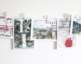 Postcards - Portland Postcards - Set of Postcards - Illustrated Cards - Portland Oregon - Illustrated Portland - Set of 8 Portland Postcards