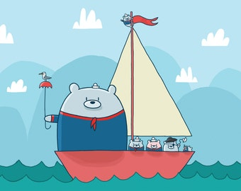 Sailing Bears Greeting Card