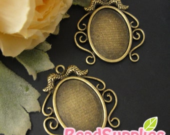 CH-CS-03036 -  Nickel free , antique brass Mustache art nouveau oval cameo setting charm , 4 pcs (for 25mmx18mm cabochon)