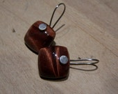 Reserved...Tiger eye smooth square,  sterling silver  naiheadl  earwire, earrings