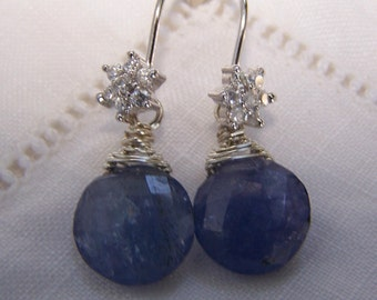 Tanzanite Faceted coin,  sterling silver cap, CZ hook earwire