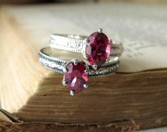 Oval Garnet Solitaire Ring Alternative Engagement Ring Oval Promise Ring Rhodolite Garnet Gemstone Ring January Birthstone Ring