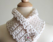 Valentine's Day - Cream Neck Cozy, Neck Warmer, Cowl, Wooden Button with Pink Rose Image