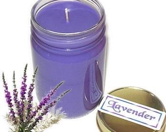 Lavender Mason Jar Candle Fruit Scent 12 Oz Handmade