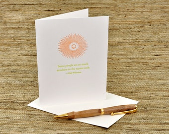 Some people are so much sunshine - Walt Whitman quote - letterpress card