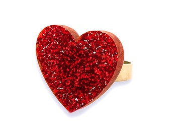 Red Glitter Acrylic Heart Adjustable Ring
