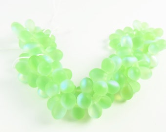 4x6mm Glass Bead Tear Drop Droplet AB Strung - Green Peridot - 100 Pieces - 9812