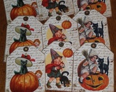 9 Primitive Hang Tags Gift Ties - Halloween - Pumpkin - Jack O Lantern - Spooky Black Cat - Ornies
