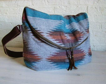 Navajo wool XL Fold Over Day Traveler/ Overnight/ Weekend bag, tribal weekender