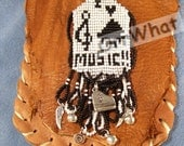 Music Keyboard Piano Leather Pouch fits Smart Phone Music Charms Reenactment Belt Bag Purse