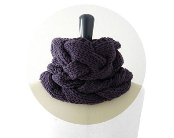 ON SALE Merino Cable Snood / Single Loop Scarf / Neck Warmer. Knit. Eggplant. Men / Women. Spring / Fall / Winter. Handmade in France.