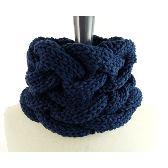 Loose Braids Cowl in Merino Blend for Men and Women. Chunky Knit Infinity Loop. Nautical Blue. Spring / Fall / Winter.