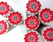 Polymer clay millefiore cane - red flower