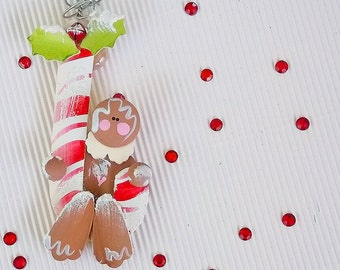 Personalize Christmas Ornament. Gingerbread Man & Candy Cane. Holiday Kitchen Decor. Rustic Holiday Decoration. Gifts for Her. Gift under 10