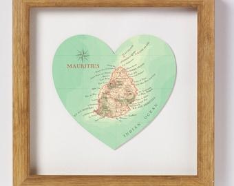 Mauritius map heart print - framed