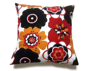 Lynne's Bargin Basement (2) A pair..Decorative Pillow Covers Black White Red Yellow Modern Floral  Multicolored Toss Throw Accent 16x16 inch