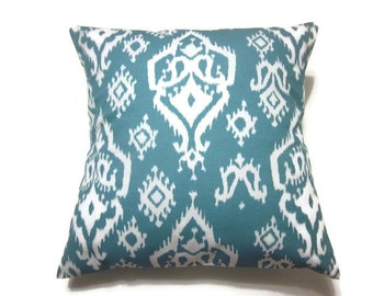 Decorative Pillow Cover Cadet Blue Ikat Design Same Fabric Front and Back Throw Toss Accent 18x18 inch x