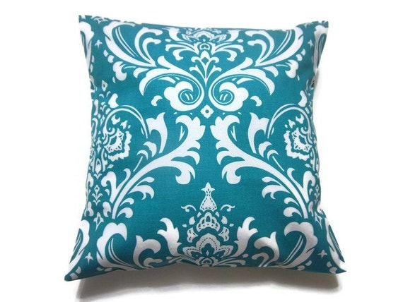 Decorative Pillow Cover Turquoise White Traditional Design Throw Toss Accent Cover 16x16 inch Same Fabric Front/Back