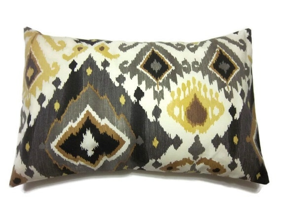 decorative pillow cover lumbar brown gray gold yellow ochre. Black Bedroom Furniture Sets. Home Design Ideas
