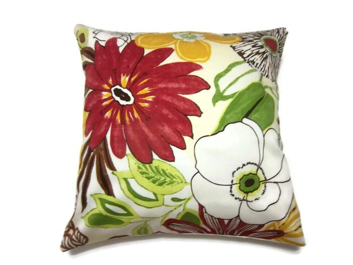 Red And Yellow Decorative Pillows : Decorative Pillow Cover Red Yellow Green Brown Floral