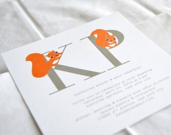 Little Squirrels Wedding Invitation - Wedding Card - Recycled Paper - set of 50