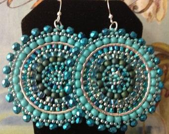 Aquamarine and Turquoise Seed Beaded Earrings - Big Bold Multicolored Disc Earrings
