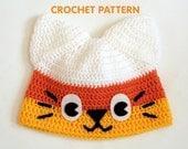 PDF Crochet Pattern - Candy Corn Kitty Hat