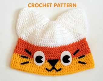 PDF Crochet Pattern - Candy Corn Kitty Hat