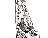 "Delaware state linoleum block print with text + state bird and flower - 9""x12"" wall art"