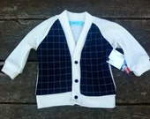 Navy Baby Cardigan - handmade, boy, child, sweater
