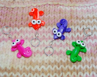 Colorful Gecko knitting or crochet stitch markers - Set of 4 - polymer clay