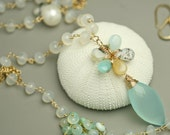 Blue Peruvian Opal Flower Necklace with Chalcedony and Pearls Statement Necklace