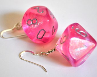 Dice Earrings - D10 Dice Jewelry - Pink Sparkle Ten Sided Dangle Earrings
