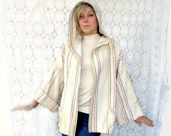1970s  Hippie Rainbow Jacket & Hood MEDIUM Vintage 1980s grunge bone red yellow blue rainbow striped roll sleeve jacket beige unstructured