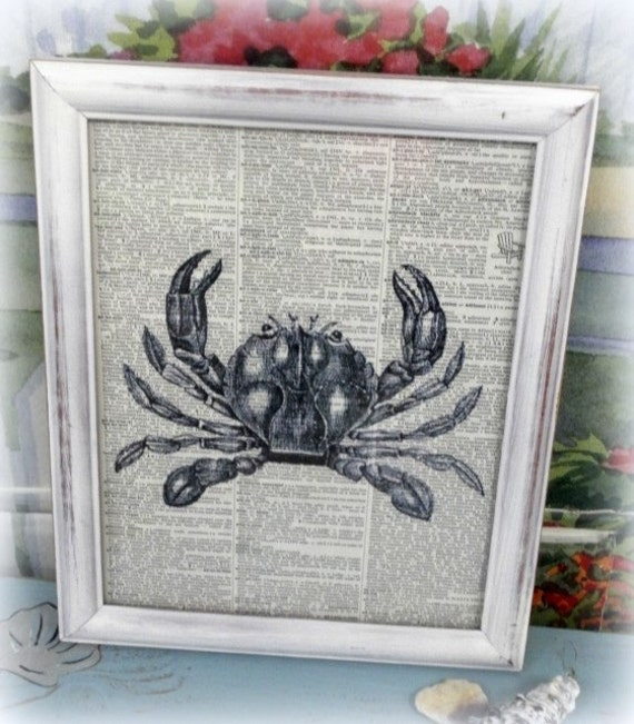 Shabby Chic Beach Vintage Crab Framed By LisasShabbyCottage