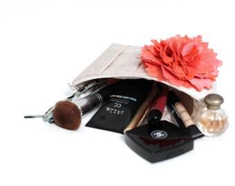 Personalized bridesmaid gift, Bridesmaid clutch, Bridal clutch purse, Makeup bag, Travel bag, Champagne clutch, Coral wedding, Clutch purse